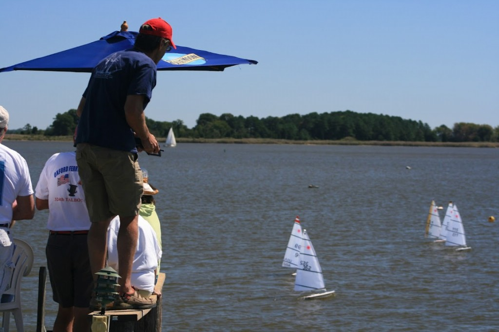 Tom Lippincott provides body english and a keen vantage point to shepard his RC Laser downwind at Rock Hall, MD