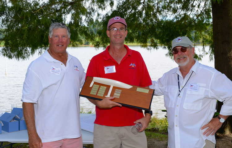 Pictured above is RC Laser NA Class Secretary, Dave Branning on left presenting the Bruce Kirby Trophy to Jim Kaighin with Silver Fleet Winner and Regatta Chairman, Rick Ferguson on the right