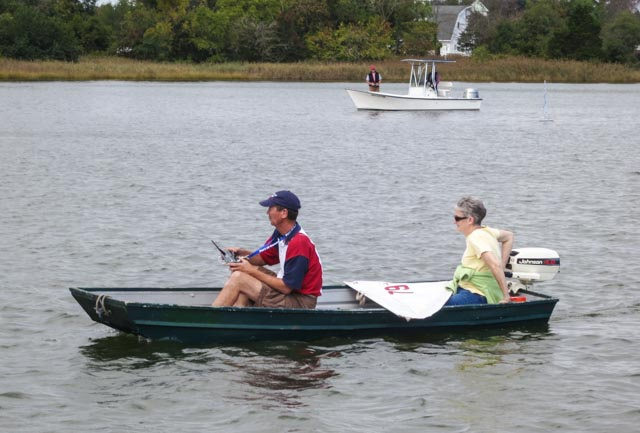 Harry and Jeannie Henkel guide their RC Laser on the Tred Avon River