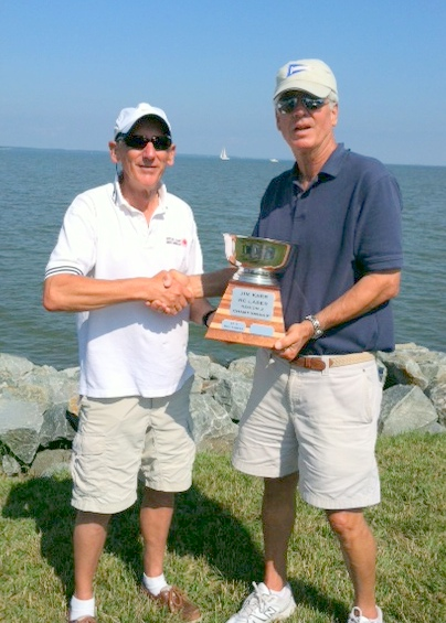 Don Barker accepting the Jim Karr R2 Championship Trophy from....Jim Karr