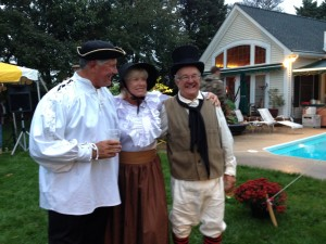 Cannonball Race winners, Dave Branning and Elaine Hepkin, with Regatta co-chair, Roger Baldwin. All in 1812 period dress to add flavor to the ocassion